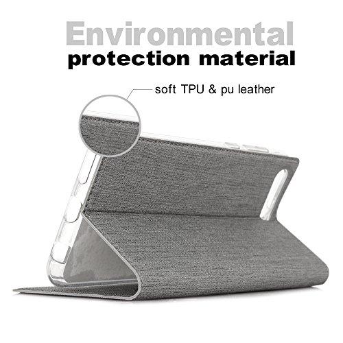 Feitenn Honor View 10 Hülle, dünne Premium PU Leder Flip Handy Schutzhülle | TPU-Stoßstange, Magnetverschluss, Kartenschlitz und Standfunktion Brieftasche Etui (Grau) - 6