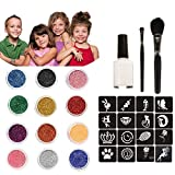 12 Colors Temporary Glitter Tattoos Kit for Girls 3 4 5 6 7 8 9 Year Old Christmas Gifts Make Up Body Glitter Face Paint 30 Sheets Cute Stencils of Glitter 1 Glue 2 Brushes