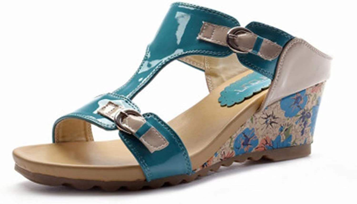 T-JULY Ladies Slippers Women Sandals Female Wedges Med Heels Slides Casual shoes with Buckle Decoration