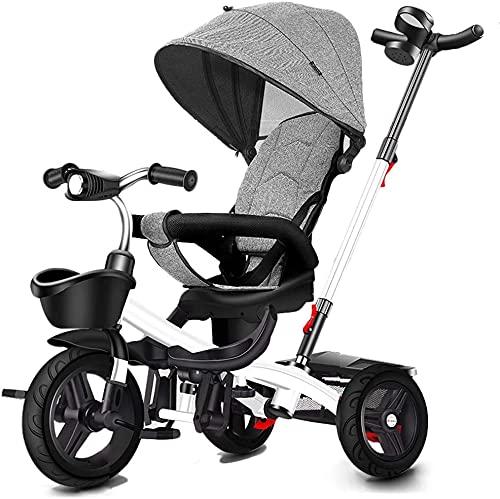 Triciclo Evolutivo Toral Triciclo para bebés, mi Primer Coche Trible Trible 3 Wheeler Plus Pedal Plegable Trolley Shade Shed para 1-6 años de Paseo en Bicicleta (Color : Grey)