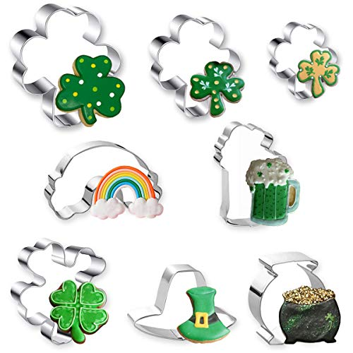 St Patrick#039s Day Cookie Cutter 8 Pcs Cookie Cutters Set Shamrock Four Leaf Clover Beer Mug Rainbow Top Hat and Pot of Gold Stainless Steel Biscuit Cutters for St Patrick#039s Day Irish Party