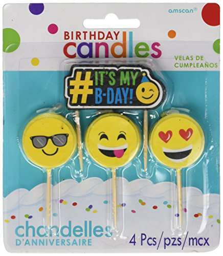amscan 170441 Emoji Party Candle-4 Pcs