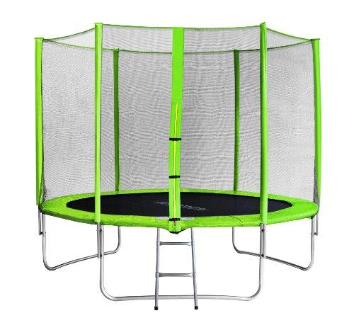 SixBros. SixJump 3,05 M Trampolino per Il Giardino Verde - Scaletta - Rete di Sicurezza - Copertura Anti-Pioggia TG305/1695