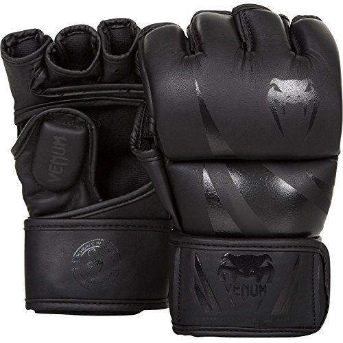 grey and black mma gloves