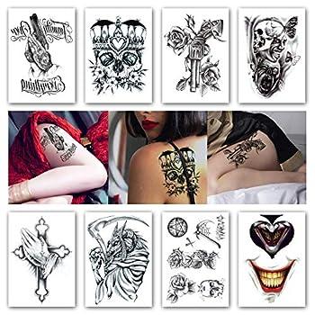 Kotbs 8 Sheets Temporary Tattoos Crown Skull Scythe Death Waterproof Temporary Tattoo Sticker for Women Men Tattoos Body Art Arm Fake Tatoo