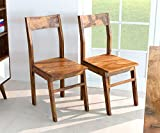 AISER Interieur Massive Echt-Holz Palisander Esszimmer-Stühle -Hawi- aus besonders schön gezeichnetem Sheesham-Holz in modernem zeitlosen Design | 2er Set