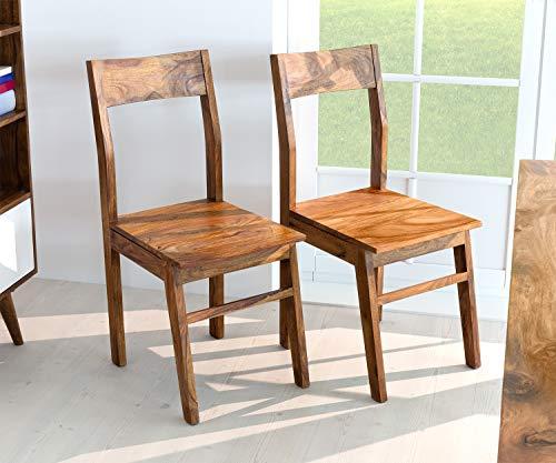 AISER Royal Massive Echt-Holz Palisander Esszimmer-Stühle -Hawi- aus besonders schön gezeichnetem Sheesham-Holz in modernem zeitlosen Design | 2er Set