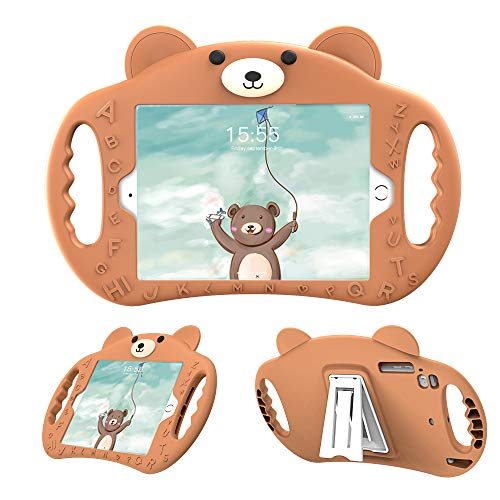 PZOZ iPad Kids Case Compatible iPad 7th & 8th Generation 10.2 in Shockproof Silicone Handle Stand Heavy Duty Protective Boys Girls Cover for Apple New iPad 10.2 in 7th Gen 2019 (Brown)