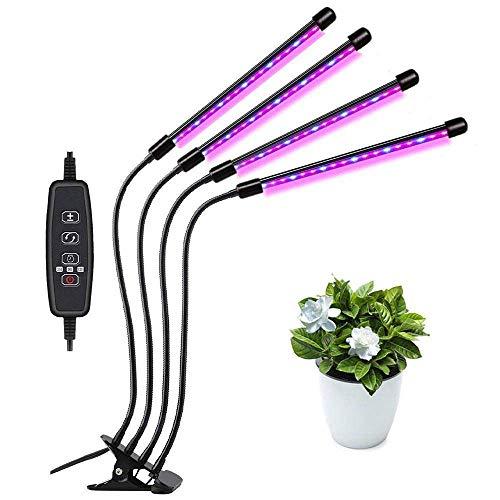 Gute Qualität LED-Anlagenwachstumslicht mit vier Köpfen Clip PHYTO Lampe 5V 36W USB-Dimmen-Timing-Anlage Wachsen-Lampe, Köpfe Schwanenhals Vollspektrum LED-Anlage Wachsen Glühlampe für Pflanzen Indoor