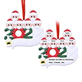 Zuukoo [2 Pack] Personalized 2020 Quarantine Christmas Ornament Kit with Toilet Paper, Survivor Family DIY Name Blessing Customized Xmas Decorating Set Creative Gift (Family of 6)