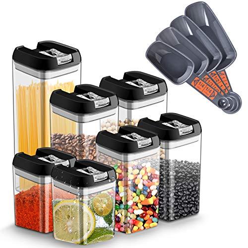 7pcs Botes Hermeticos Cocina Plastico Tarro almacenaje Alimentos con Tapa Recipiente Caja de Almacenamiento Alimentos Apilables, Sin BPA,Botes Almacenaje para Espagueti/Pasta/Frijoles/Especias