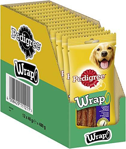 Pedigree WRAP – Kausticks für Hunde – Ummantelt mit Hühnchen – Zur Belohnung beim Training oder einfach zwischendurch – 12 x 40g