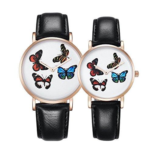 Schöne Uhren, CAGARNY 6812 runden Zifferblatt Legierung Gold Case Mode Paar Uhr Männer & Frauen Liebhaber Quarz Uhren mit PU Lederband ( SKU : Wa0722a )