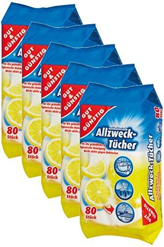 Toallitas húmedas antibacteriano en dispensador del paquete 400Unidades–5Pack (contenido 5x 80unidades)–con fresco Aroma Limón