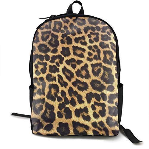 Leopard Print Yellow Travel Computer Bag Laptop Backpack Unisex, School College Fits 15'' Laptop