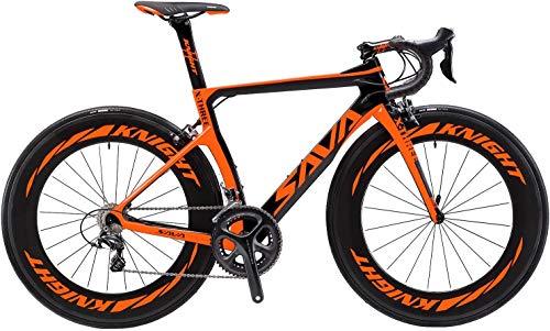 SAVADECK Phantom3.0 Carbon Rennrad 700C Kohlefaser Rennräder Vollcarbon Fahrrad mit Shimano Ultegra R8000 22 Gang Schaltgruppe Continental Reifen und Fizik Sattel (Orange-(88mm Räder), 56cm)