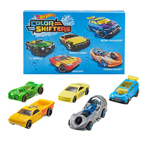 Hot Wheels Shifters Pack de 5 coches que cambian de color, m