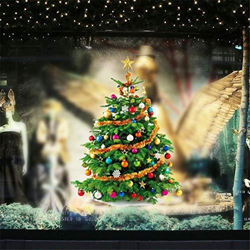 QISHENG Merry Christmas Tree Stickers Balloons Reindeer Stars Wall Decals Shop Window Removable Wall Stickers Shop Window Decorations Murals Removable DIY Home Decorations Art Décor (Green)