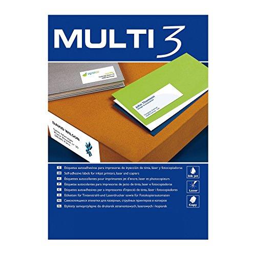 Multi-3 - Etiquetas adhesivas multi3 para inkjet laser y fotocopiadoras cantos rectos 100 hojas 48,5 x 25,4mm
