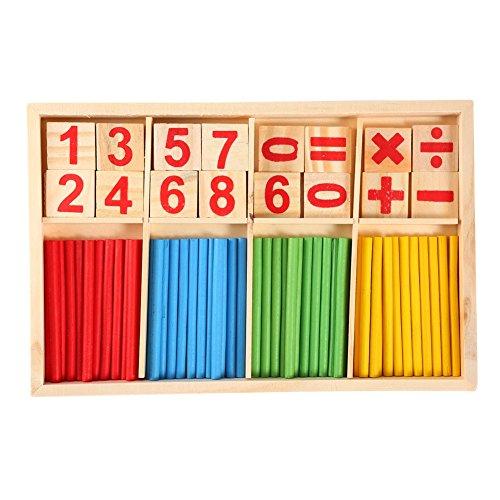 Yosoo Math Manipulatives Holz Zählen Stangen Sticks Anzahl Karten Bausteine...