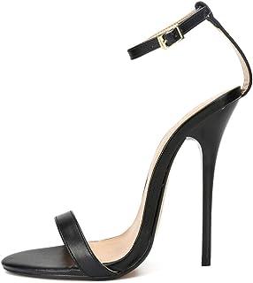 Stiletto sandalen voor dames, grote hak 13 cm open pumps met metalen gesp, antislip, comfortabele enkelbandjes met hoge ha...