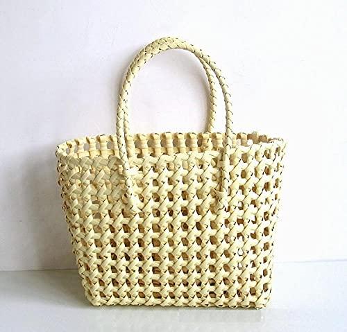 XGXSDPZ Casual Hueco de cestas Bolsa de cestas Diseñador PVC Mujeres Bolsos Totes de Gran Capacidad Ladies Summer Beach Monederos Viajes (Color : Khaki, Size : M)