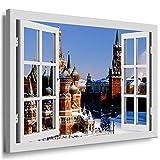 Bild auf Leinwand - Fensterblick Moskau Kreml Winter -