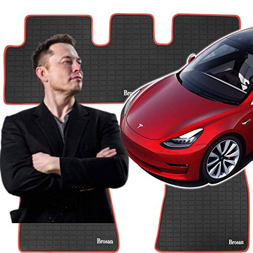 Tesla Model 3 Floor Mats Set - All Weather - Nonslip Heavy Duty Rubber (2017-2020) Driver, Passenger and Back Seat Mat