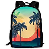 wobuzhidaoshamingzi Mochila Escolar Beach Sunset con Palm Tree Bookbag Casual...