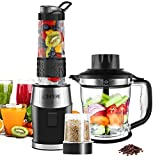 Smoothie Shake Blender, Fochea 3 In 1 Food Processor Multi-Function Kitchen Mixer System, 700W...