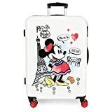 Disney Maleta Mediana Minnie Around the World Paris rígida, Rojo, 48 cm x 68 cm x 26 cm
