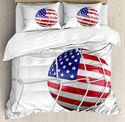ZOMOY Sports Decor Bettwäsche Set, USA American Flag Gedruckter Fußball in einem Netto Zielerfolg Stilisiertes Kunstwerk, dekoratives 3 teiliges Bettwäscheset mit 2 Kissenbezügenn