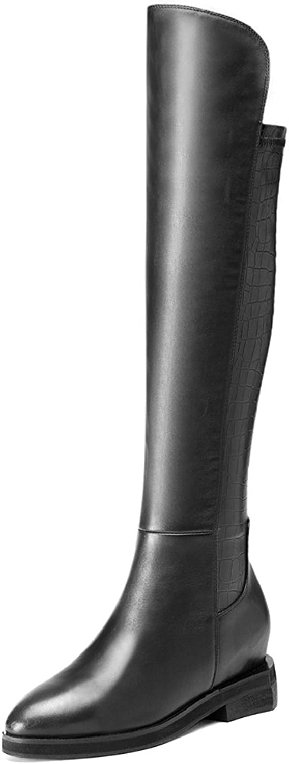 MINIVOG Women's Simple Style Crocodile Texture Leather Low Heel Knee-high Boots