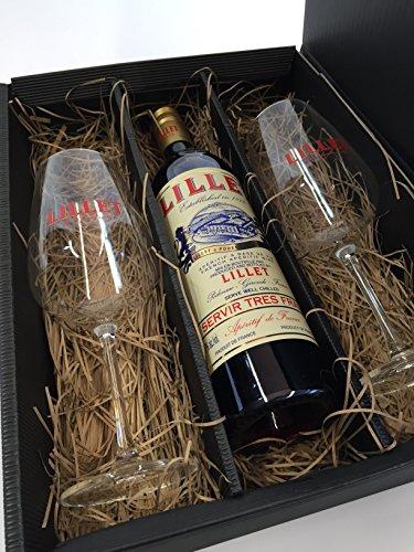 Lillet Set/Geschenkset - Lillet Rouge Aperitiv de France 750ml (17% Vol) Aperitifwein + 2 Weingläser