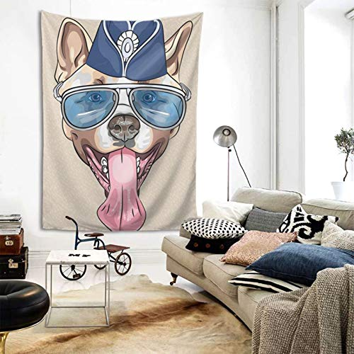 Tapestry Wall Hanging, French Bulldog Printed Wall Tapestry With Art Nature Home Decorations For Living Room Bedroom Dorm Decor In 60x80 Inches