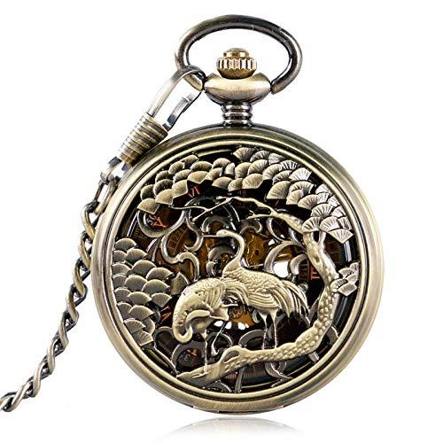 El nuevo reloj de bolsillo grúa talla bronce mujeres mecánicos hombres retro esqueleto cadena cuerda mano collar números romanos