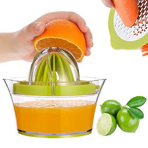olyee 4 in 1 Manual Juicer Orange Lemon Citrus Juicer Manual Squeezer Multifunctional Hand Lime Juicer with 2 Reamers and Built-in Measuring Cup