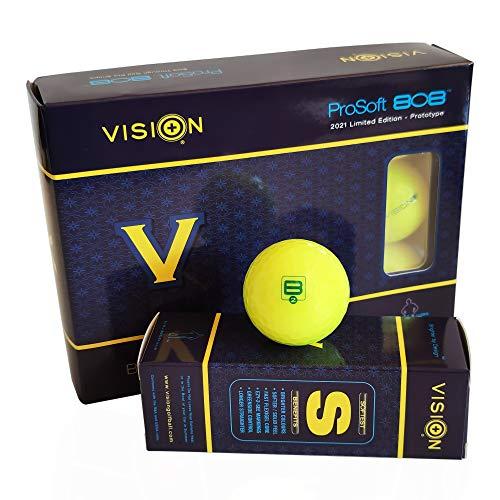 12 Vision Pro Soft UV Yellow™ Glanz Golfbälle Gelb - Soft Neu Sichtbarkeit Distance mit Enhanced-UV-Fluoreszenz-Pigment