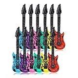 Schramm 12 Piezas de Guitarras de Aire de Color 100cm en 6 Colores Guitarra de Aire Guitarra Inflable 12-Pack