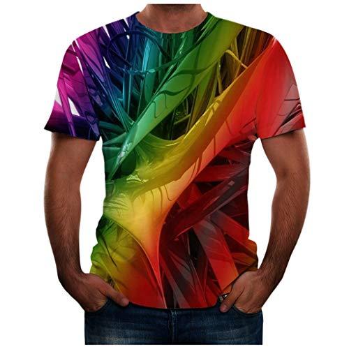 LANSKIRT Camisetas Manga Corta Hombre Camisa Deportiva de Hombre con Estampado de Imagen En Línea 3D, Ropa de Primavera, Verano, Tops Informales Diarias Talla Grande S-XXXL
