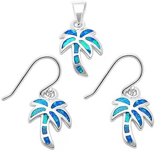 Oxford Diamond Co Lab Created Blue Opal Palm Tree .925 Sterling Silver Earring & Pendant Set (Lab Created Blue Opal)