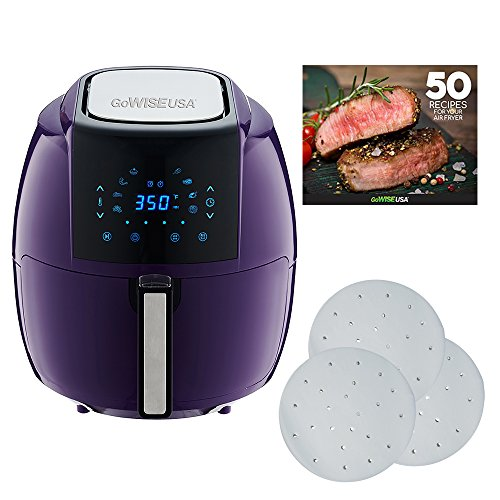 GoWISE USA 5.8-Quarts 8-in-1 Air Fryer XL with 1-Pack of Parchment Paper + 50 Recipes for your Air Fryer Book (Plum)