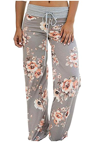 Aifer Women's Comfy Casual Pajama Pants Floral Print Lounge Drawstring Palazzo Long Wide Leg Pants Grey