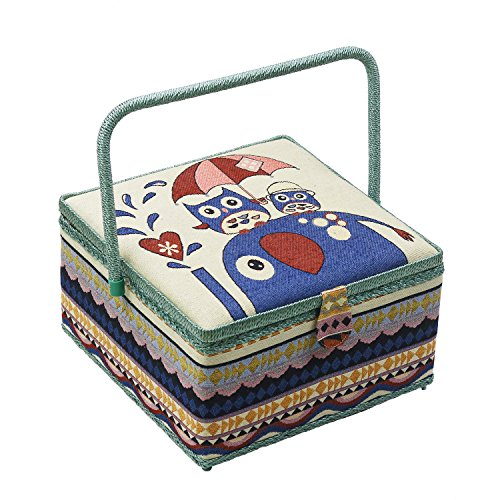 D&D Vintage Sewing Basket with Accessories, Extra Large Sewing Box Organizer for Sewing Supplies Storage, Complete Sewing Kit Tools for Sewing Mending (Owl)