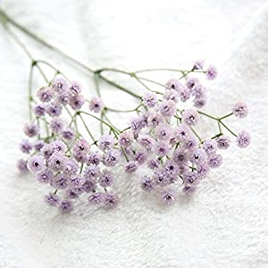 Silk Flower Arrangements Artificial and Dried Flower White Baby Breath Artificial Flowers for Wedding Decoration Event Party Supplies Decorative Flowers Wreaths - ( Color: Purple )
