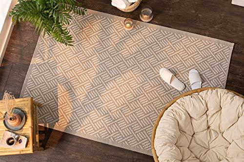 Dekoleidenschaft Outdoor Teppich Beige aus recyceltem Polypropylen, 120x180 cm, wetterfest