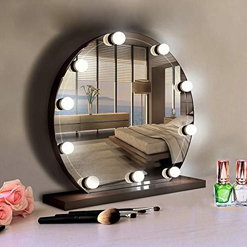 10 piezas de luces de espejo de maquillaje, luz de espejo LED, luz de maquillaje, estilo Hollywood regulable, kit de luces LED de espejo de maquillaje regulable para espejo de maquillaje