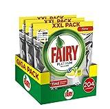Fairy Platinum Limone 204 Pastiglie per Lavastoviglie, Maxi Formato da 68x3 Caps di Detersivo