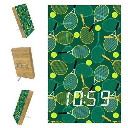Reloj Despertador Digital para dormitorios Cocina Oficina 3 ajustes de Alarma Radio Relojes de Escritorio de Madera - Raquetas de Tenis y Pelotas