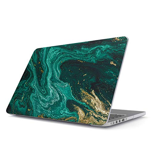 BURGA Hard Case Cover Compatible With Macbook Pro 15 Inch Case Release 2016/2017/2018, Model: A1990 / A1707 With Touch Bar Emerald Green Jade Stone High Fashion Gold Glitter Marble Cute